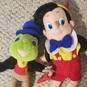 Disney Plush Pair- Pinocchio and Jiminy Cricket